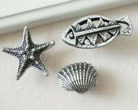 Starfish Sea Star Shell Antique Silver Black Dresser Knob Drawer Handles