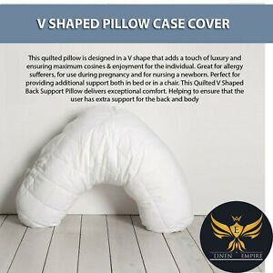 V-Shaped Quilted Pillow Back Neck Support Nursing Orthopedic Maternity Pregnancy