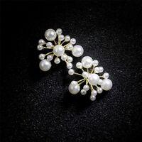 Boucles d'oreilles Clous Doré Gros Puces Floral Perle Blanc Plusieurs Taille NN5