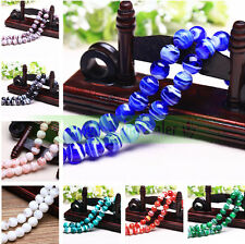 Bulk 10pcs 12mm Round Stripe Lampwork Glass Loose Spacer Beads Jewelry Making