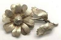 Taxco Mexico Vintage Oxidized Sterling Silver 925 Blooming Flower Pin - Brooch