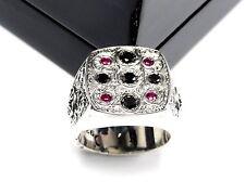 Men's Engraved 14 K White Gold Ring Black Diamonds & Rubies by Sacred Angels