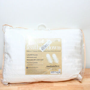 Charter Club STANDARD Pillow Down & Feathers Medium/Firm Support WHITE J0Y160