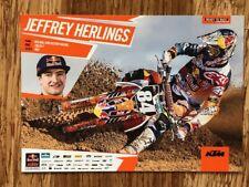 """JEFFREY HERLINGS Red Bull KTM 450SX-F Motorex Mini Poster 5.875"""" x 8.25"""" NEW!"""