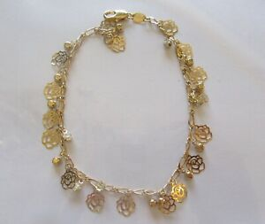 Anklet - 18K Gold Plated- ROSES flowers -round clear crystals--10""