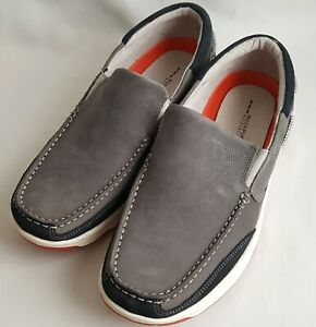 Rockport Mens Streetsailing Slip On Boat Shoes Grey Leather Size 10.5 W