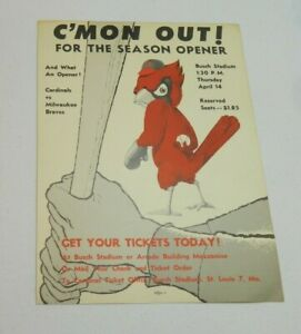 1955 St Louis Cardinals Opening Day Poster Tom Alston 1st Black Player Musial HR