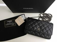 t CHANEL Classic Timeless Black Caviar WOC Wallet On Chain Bag Silver Hardware