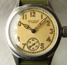 WWII PERIOD MEN'S MILITARY WALTHAM WRISTWATCH VERY GOOD CONDITION