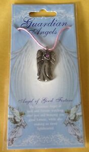 Angel Of Good Fortune Silver Pewter Pendant On A Waxed Cord