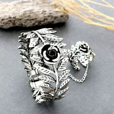 Women Rose Flower Leaf Bracelet Bangle Finger Ring Harness Hand Chain Fashion