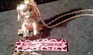 BETSEY JOHNSON CRYSTAL & ENAMEL 3D PUPPY PENDANT CHARM NECKLACE-FREE GIFT BOX