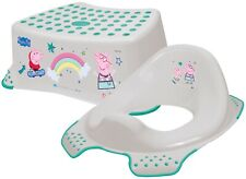 Peppa Pig Toddler Non Slip Step Stool + Toilet Training Seat Combo GREY & GREEN