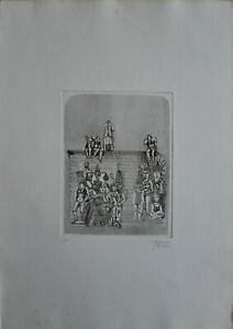 """Francesco Musante acquaforte 1975 """"la fine del Re"""" 50x35 firmata numerata"""