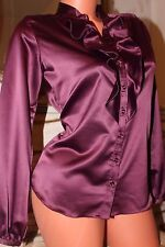 WALLIS PETITE shiny  bordeaux  ladies top  size 8