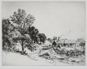 Original etching by Stephen Csoka, Brooklyn Landscape, c.1930