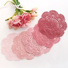 Crochet doilies pink,vintage,light pink,dusty rose 20-22 cm for millinery,crafts