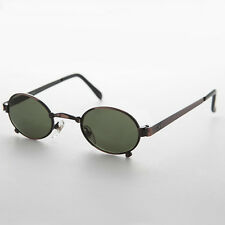 Small Oval Steampunk Spectacle Vintage Sunglass Copper/ Green Lens  - Edison