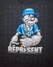 Vtg Y2K 2000 Popeye T Shirt Bling Represent Hip Hop Rap Graphic Tee Euc Xl Spell