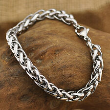Men's Punk Silver Tone Stainless Steel Chain Link Bracelet Wristband Cuff Bangle