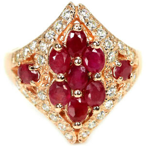 GENUINE BLOOD RED RUBY OVAL & WHITE CZ STERLING 925 SILVER RING SIZE 8.75