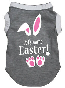 Personalize Grey Top T-Shirt Easter Bunny Pet Cat Dog Puppy One Piece Clothes