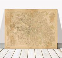 """Vintage Illustrated Street Map of PARIS 1883 Poster CANVAS PRINT 24x16"""" - France"""