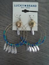 Lucky Brand two tone gold/silver blue bead~double hoop feather earrings, NWT