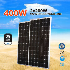 2X 200W 12V Solar Panel kit Power Generator Charging Battery Caravan Boat