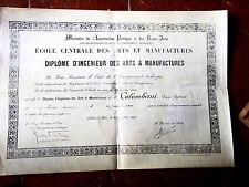 1899  diplome d'ingenieur des ARTS ET MANUFACTURES  à louis COLOMBANI