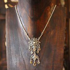 Citrine & Sterling Silver Vintage Lavaliere Necklace Fine Statement Jewellery