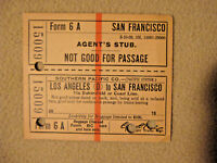 Southern Pacific Ticket - Los Angeles to San Francisco - Form 6A - 1908