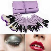 32 PCS Cosmetic Soft Makeup Brush Make Up Brushes Tools Set Kit Purple Pouch Bag