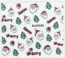 Christmas Glitter Trees Santa Hats Merry Xmas 3D Nail Art Stickers Decals