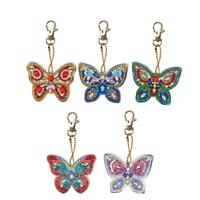 5pcs DIY Full Drill Diamond Painting Special Shaped Butterfly Keychain Gift Kits