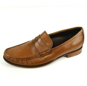 Cole Hann Mens Penny Loafer Leather Slip Ons Cognac Brown Shoes NikeAir Size 9 M