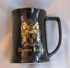"""Vintage Thomas College Terriers 4 1/4"""" W.C. Bunting Co Black Gold Beer Mug/Stein"""