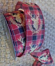 """New listing Xmas Ribbon Wire Edge Gold Glitter Stag Red Black Green Plaid 2 1/2"""" X 5 Yds"""