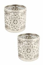 Antique Style Tealight Holder, Round Metal Candle Holder, Set of 2