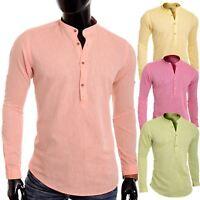 Men's Casual Henley Shirt Grandad Cotton Linen Slim Fit Long Sleeve Vivid Colour