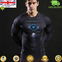 Mens long sleeve compression top gym superhero avengers marvel muscle Iron Man