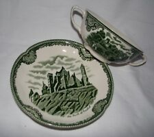 green transferware vintage OLD BRITAIN CASTLES Johnson Bros CREAM SOUP w/ PLATE