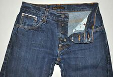 "Nudie Jeans Men's Grim Tim Dry SELVAGE Jeans Actual: Waist 30"" Length 26"" Short"