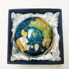 unique art 3-inch Bahama Blue Pearl Swirl ocean gemstone world globe paperweight