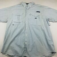 Columbia PFG Omni-Shade Super Bonehead Men's L Blue Vented Short Sleeve Shirt