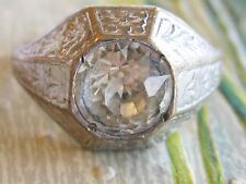 HIGH ART DECO MANS COSTUME JEWELRY RING WITH CLEAR PASTE STONE & STYLE GALORE