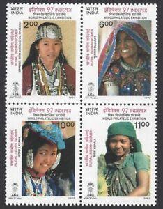 India 1997 Rural Women Costume Traditional Dresses Indepex se-tenant 4v MNH