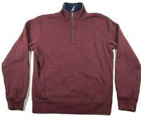 Nautica Mens  Pullover Fleece Jacket 1/4 Zip Size Small Burgandy Blue