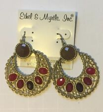 Ethel & Myrtle Dangle Doorknocker Hoop Earrings Filigree Faceted Cabochons NWT