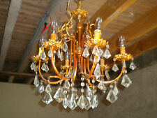 Vintage French Chandelier 6 arm type with glass droplets needs some restoration